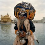 A Nihang Sikh, a religious military order also known as the Akali (the eternal). By Mark Hartman.