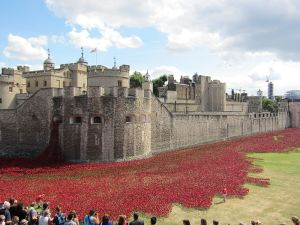 Blood Swept Lands And Seas Of Red, Tower of London. Between 5th August (start of the war) and 11th November (Remembrance Day), there will be a poppy planted for each death.