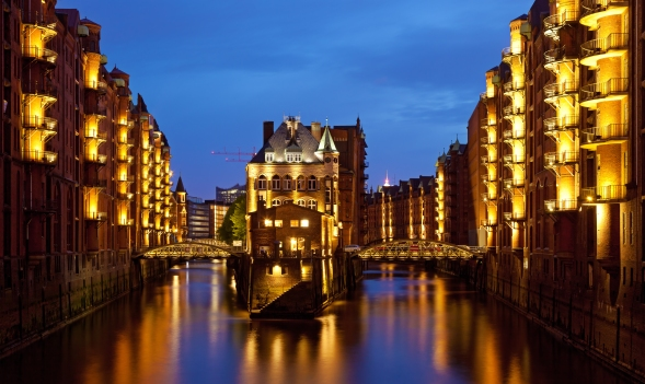 The Speicherstadt in Hamburg, Germany.