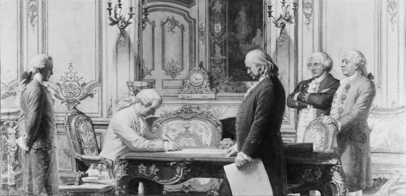 Depiction of the signing of the treaties by Charles E. Mills